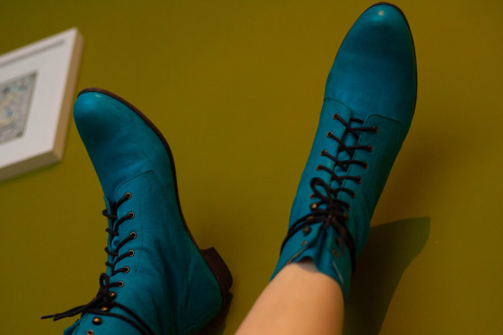 green-boots-wall